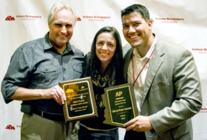 The Sierra Vista Herald was awarded General Excellence and Associated Press Member of the Year honors in the 2015 Better Newspaper Contest, organized by the Arizona Newspaper Association. Publisher Francis Wick, right, accepted the award with News and Features Editor Liz Manring and Managing Editor Eric Petermann.